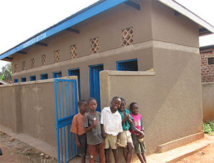 Image of latrine and children
