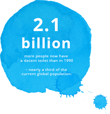 2.1 billion more people now have a decent toilet than in 1990 – nearly a third of the current global population.